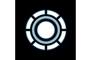 Abstract tech are round glowing vector sign