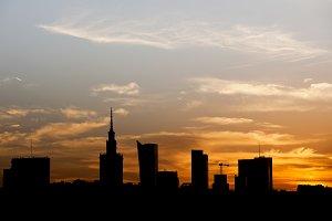 Warsaw Sunset Skyline