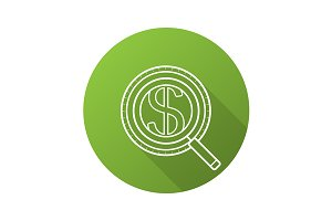 Money search icon. Vector