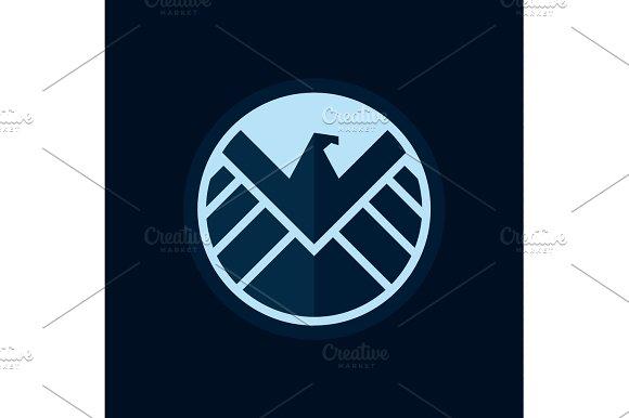 Eagle logo emblem, vector flat