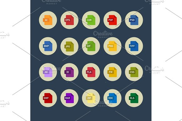 Icons graphics packages programs into flat style