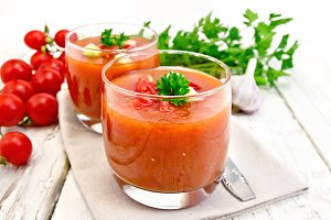 Soup tomato in two glasses