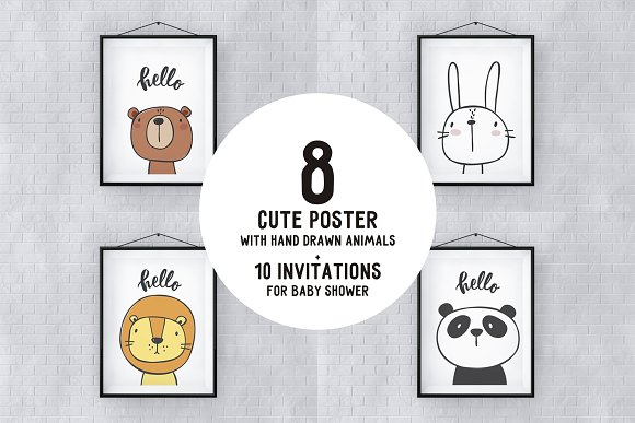 Cute poster with hand drawn animals