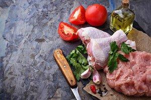 Raw chicken legs minced meat.