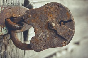 Old rusty padlock