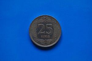 Twenty Five Cents coin, Turkey over blue