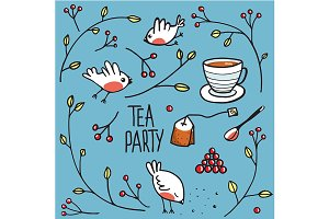 Garden Tea Party with Birds