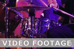 Drummer plays on drum set and cymbal slow motion