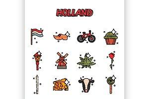 Netherland Flat Icons Design