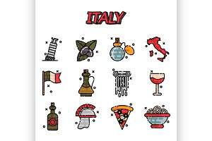 Italy Flat Icons Design