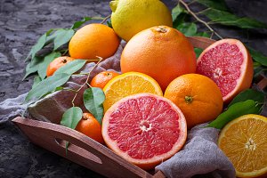 Orange, grapefruit and tangerines.