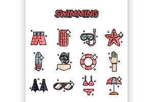 Swimming flat concept set