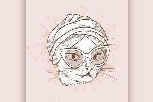 Vector sketch of elegant cat