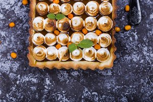 tart with chocolate and meringue
