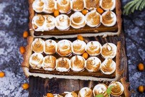 tart with chocolate and meringue