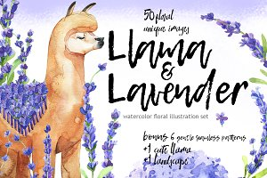 Lama & Lavender-watercolor set