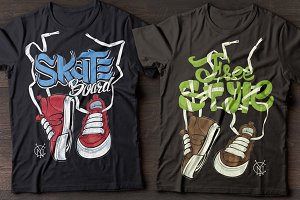Sneakers and freestyle lettering