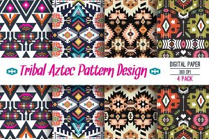 Collection Bright Aztec Patterns