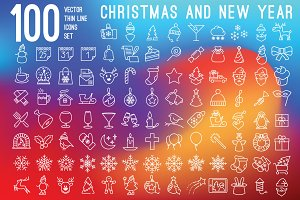 100 Christmas icons set