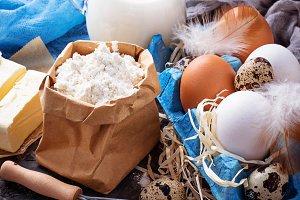 Milk, butter, eggs, flour.
