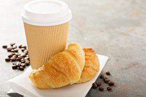 Croissants with coffee to go
