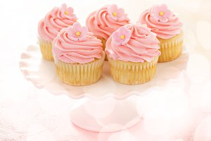 Vanilla cupcakes with pink raspberry frosting