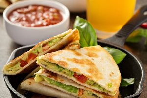 Vegan quesadillas with avocado and red pepper