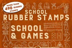 RUBBER STAMPS: SCHOOL+GAMES +4 BONUS