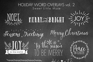 Christmas word overlays - digital