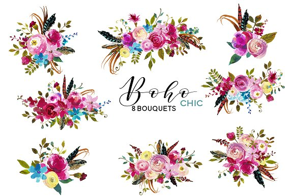 Boho Chic Pink Watercolor Flowers Illustrations Creative Market
