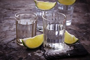 Shots of Mexican silver tequila