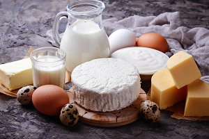 Milk, cottage cheese, butter, eggs