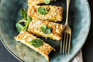 Kuchen cake with mint