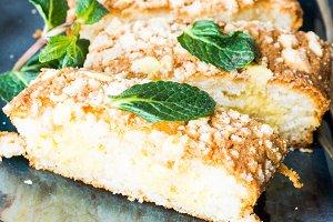 Kuchen cake with mint