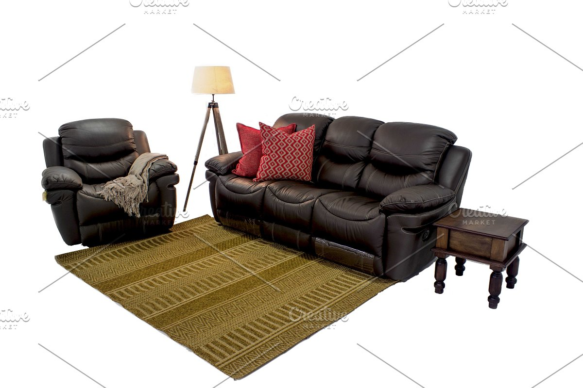 Leather Sofa Set Png Graphic Objects Creative Market
