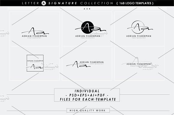 168 letter a signature monogram logo logo templates creative market spiritdancerdesigns Gallery