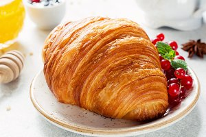 Breakfast with croissant
