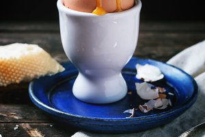 Soft-boiled egg with red caviar