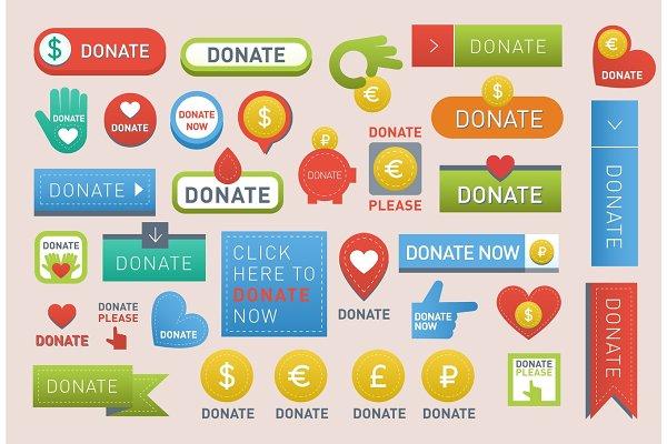 Donate buttons vector set illustrat…