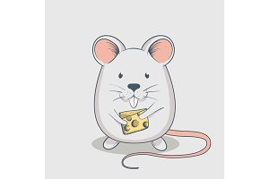 Funny mouse keeps cheese