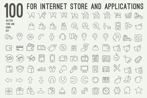 100 thin line icons for web store
