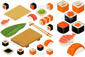 Set icon Sushi nigiri and rolls. Served with bamboo mat, chopsticks, wasabi, soy sauce and wood plate