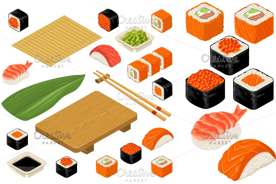 Set icon Sushi nigiri and rolls  Served with bamboo mat, chopsticks,  wasabi, soy sauce and wood plate
