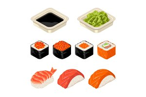 Set Sushi roll, wasabi and soy sause . Isolated on white background.