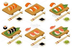 Sushi roll Philadelphia, nigiri