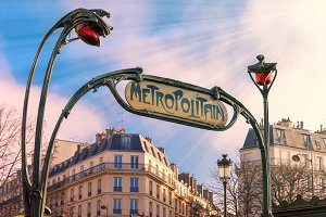 Art Nouveau entrance sign of Paris Metro, France