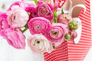 Bouquet of Pink Ranunculus, Buttercup Flowers