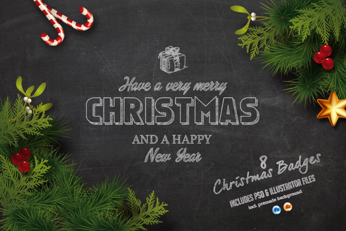 christmas chalk badges background illustrations