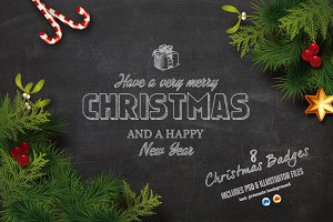 Christmas Chalk Badges + Background