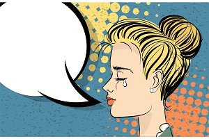 Beautiful blonde girl pop art crying